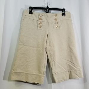 Tan Burmuda Dress Shorts Button Front Cuffed